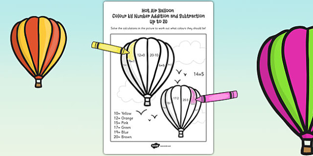 Hot Air Balloon Colour by Number Addition and Subtraction Up 20