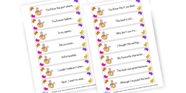 Reading Journal openers - Writing Templates Diaries and Journals Primary Resources