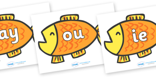 Phase 5 Phonemes on Goldfish to Support Teaching on Brown Bear, Brown Bear - Phonemes, phoneme, Phase 5, Phase five, Foundation, Literacy, Letters and Sounds, DfES, display