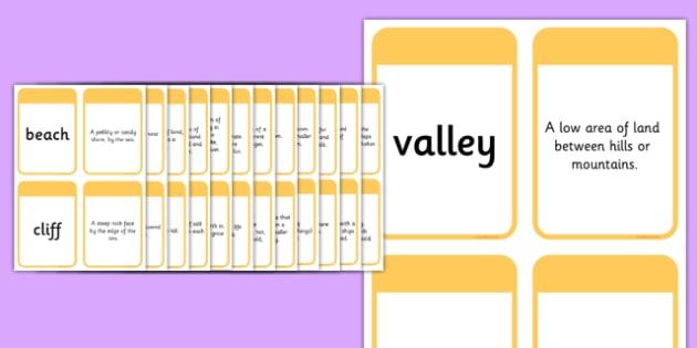 KS1 Geography Keyword Matching Cards - ks1, geography, keyword, matching, cards