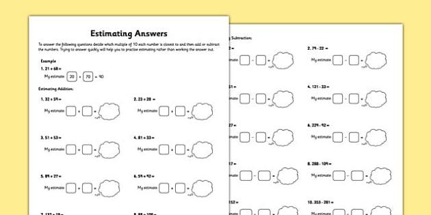 Year 3 Estimating Answers Worksheet - year 3, estimating, answers, worksheet