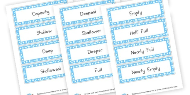 Capacity Labels - KS2 Length Mass and Capacity Primary Resources, Shapes, Length