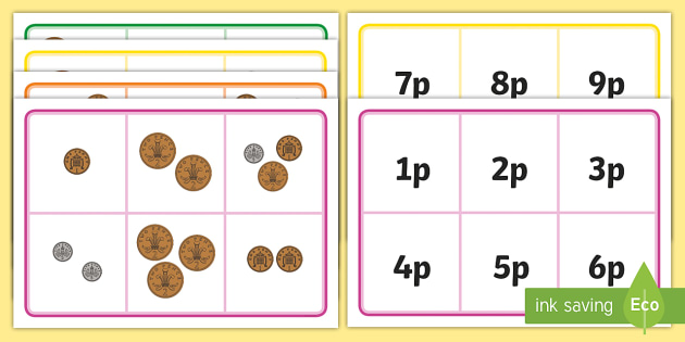 Money Bingo To 10p Using 1p 2p And 5p Coins - money, coins, maths