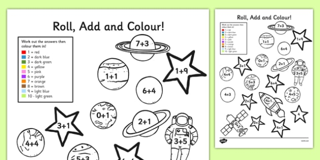 Space Add and Colour Addition Activity Sheet - space, add, roll, colour, addition, activity, sheet, worksheet