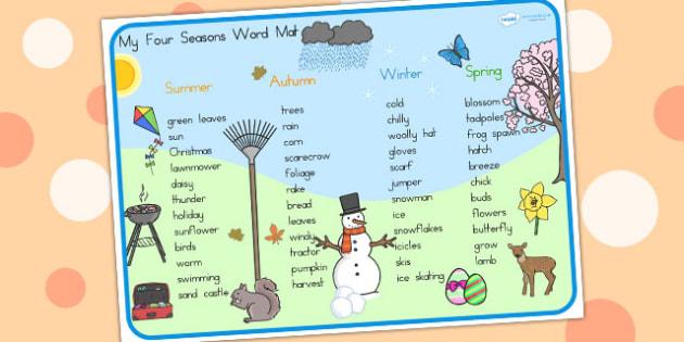 Four Seasons Word Mat - seasons, weather, word mat, keywords