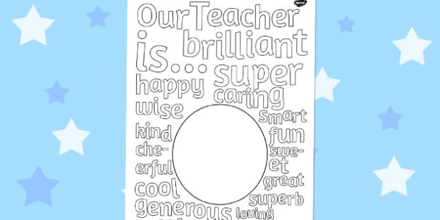 Class Gift to Teacher Describing Words Drawing and Colouring Sheet