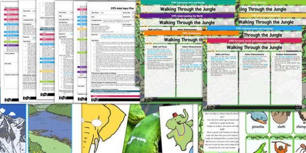 EYFS Bumper Planning Pack Jungle Animals Themed - walking through the jungle, jungle