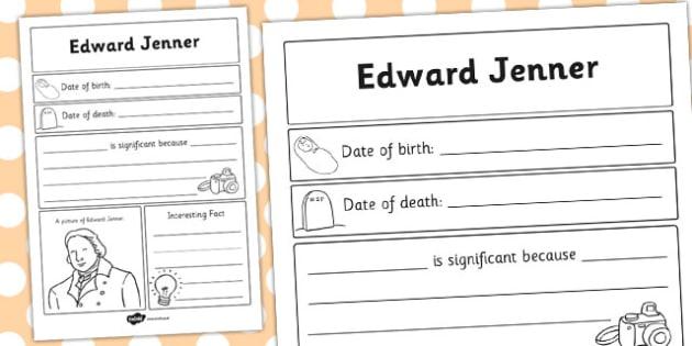 Edward Jenner Significant Individual Writing Frame - writing