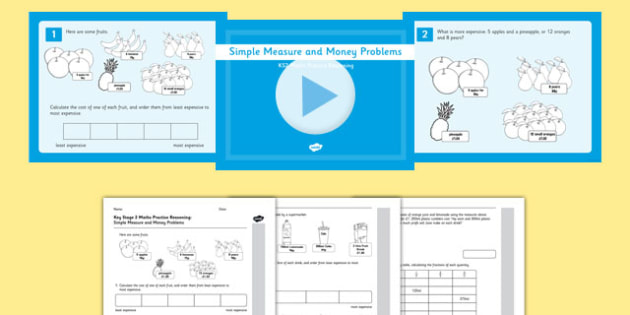 KS2 Reasoning Test Practice Simple Measure and Money Problems Resource Pack - Key Stage 2, Reasoning Test, Practice, Fractions, Decimals, Percentages, Year 6, Measure, Money