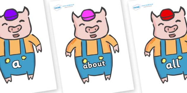 100 High Frequency Words on Little Pig - High frequency words, hfw, DfES Letters and Sounds, Letters and Sounds, display words