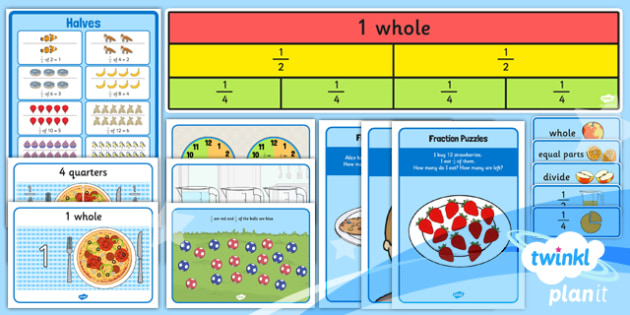 PlanIt Y1 Fractions Display Pack - planit, fractions, year 1, maths, display pack