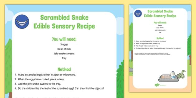 Scrambled Snake To Support Teaching On The Gruffalo Edible Sensory Recipe -