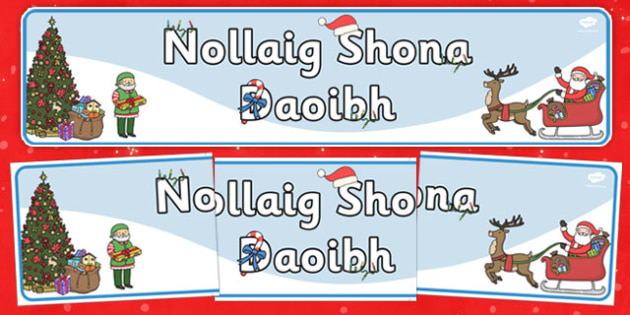 Happy Christmas Plural Banner Gaeilge - gaeilge, happy christmas, plural, banner, display