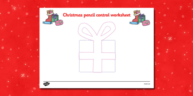 Christmas Pencil Control Worksheets (Present) - Christmas, xmas, pencil control, Handwriting, tracing lines, lines, pencil contol, line guide, fine motor skills, Handwriting, Writing aid, Learning to write, tree, advent, nativity, santa, father chris