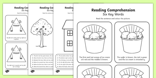 Reading Comprehension Six Key Words Activity Sheet Pack, worksheet