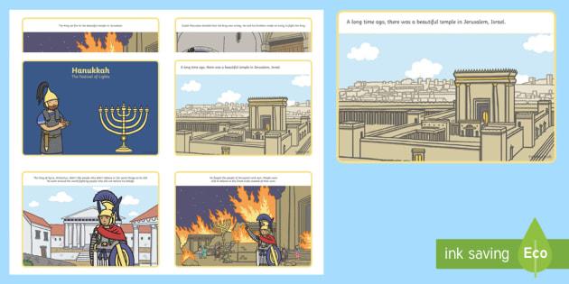 KS1 Hanukkah  Story Sequencing Cards - Hanukkah (24th Dec- 1st Jan), Judaism, festival of light, menorah, Maccabees, Judah Maccabee, King A