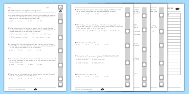 Common Core 4th Grade OA Review Pack - usa, america, Common Core, 4th grade, OA, End of Grade Review