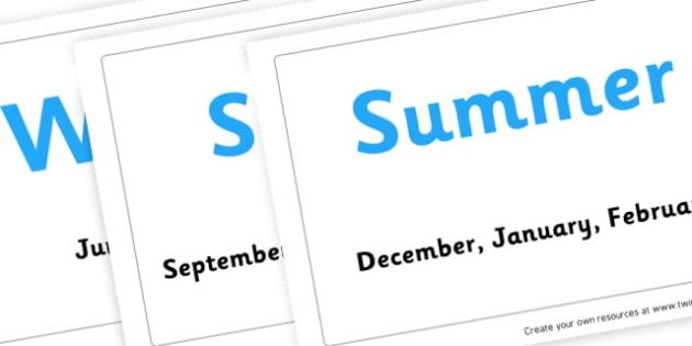 Seasons Cards - All Four Seasons Classroom Signs and Labels Primary Resources
