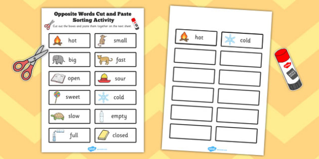 Opposite Words Cut and Paste Sorting Activity - opposite, words