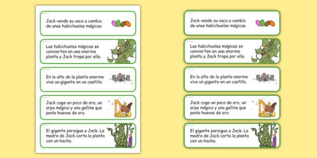 Actividad de secuenciar de Jack y las habichuelas mágicas - cuentos tradicionales, cuentos de hada, escuchar, historia, crecer, plantas, ordenar, recordar