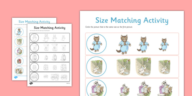 Beatrix Potter - The Tale of Tom Kitten Size Matching Worksheets - beatrix potter, tom kitten