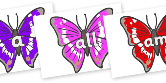 Foundation Stage 2 Keywords on Emperor Butterflies - FS2, CLL, keywords, Communication language and literacy,  Display, Key words, high frequency words, foundation stage literacy, DfES Letters and Sounds, Letters and Sounds, spelling