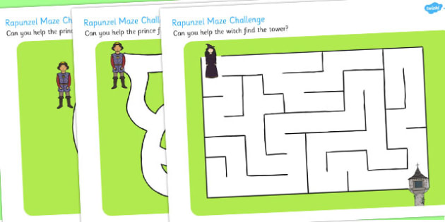 Rapunzel Differentiated Maze Activity Sheet Pack - traditional tale, worksheet