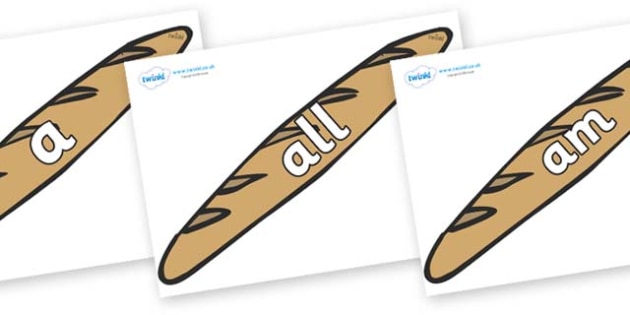 Foundation Stage 2 Keywords on Baguettes - FS2, CLL, keywords, Communication language and literacy,  Display, Key words, high frequency words, foundation stage literacy, DfES Letters and Sounds, Letters and Sounds, spelling