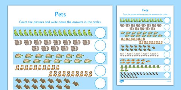 Pets Counting 11-20 Activity Sheet - pets, counting, count, 11-20, activity sheet, activity, sheet, worksheet