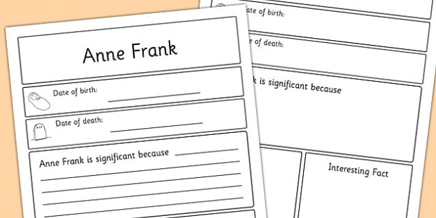 Anne Frank Significant Individual Writing Frame - anne frank