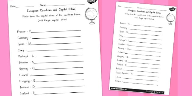 Capitals and Countries Worksheet - Country, Geography, Capitals