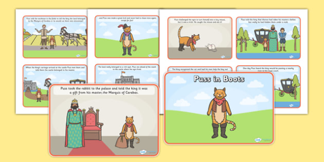 Puss in Boots Story Sequencing (4 per A4) - Puss, cat, in boots, royal, coach, curier, miller, sequencing, story sequencing, story resources, 4 per A4, cards, king, king's daughter, donkey, prince,Marquis of Carabas, mill, boots, inheritance, son,  s