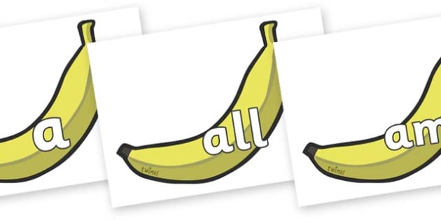 Foundation Stage 2 Keywords on Bananas - FS2, CLL, keywords, Communication language and literacy,  Display, Key words, high frequency words, foundation stage literacy, DfES Letters and Sounds, Letters and Sounds, spelling