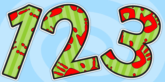 Red and Green Handprint Display Numbers - handprint, numbers