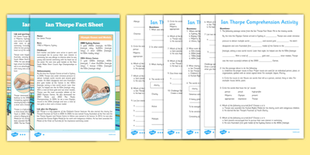 Ian Thorpe Australian Olympian Differentiated Comprehension Activity - australia, Australia, Olympic Games, Information, Fact Sheet, Reading Comprehension, Vocabulary, Phonics, Sequencing, Challenge