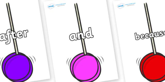 Connectives on Yoyos - Connectives, VCOP, connective resources, connectives display words, connective displays