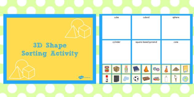 3D Shape Sorting Activity Notebook - activity, 3d, shape, sort
