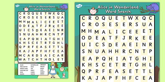 Alice in Wonderland Wordsearch - alice in wonderland, word search, wordsearch, alice in wonderland wordsearch, alice in wonderland activity, word game