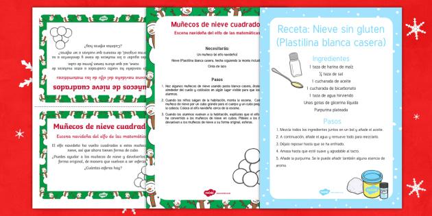Escena navideña del elfo de las matemáticas Muñecos de nieve cuadrados-Spanish - numeros, problemas matemáticos, navidad, navideño,Spanish