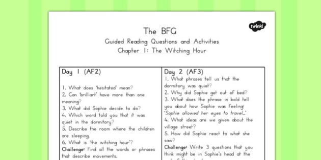 Guided Reading Questions Chapter 1 to Support Teaching on The BFG - australia, bfg, guided reading