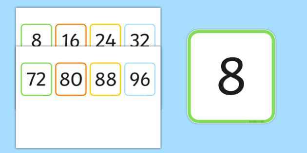 Multiples of 8 Flash Cards - multiples, counting, times table, count, multiplication, division, flash cards, 8