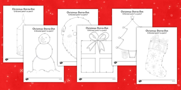 Christmas Dot to Dots Romanian Translation - romanian, christmas, dot to dots, activity, season