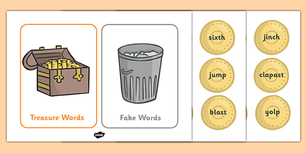 Buried Treasure Game (Phase 4) - Buried Treasure, Phase 4, activity, Phase four, blending for reading, nonsense words, DfES Letters and Sounds, Letters and sounds, Letter flashcards, year 2