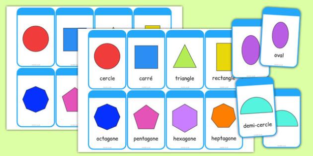 2D Shape Cards French - french, 2d shape, cards, activity, shape, 2d, maths, numeracy,2Dshape