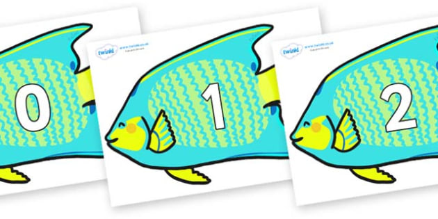 Numbers 0-50 on Angel Fish - 0-50, foundation stage numeracy, Number recognition, Number flashcards, counting, number frieze, Display numbers, number posters