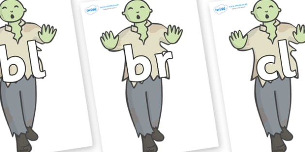 Initial Letter Blends on Zombies - Initial Letters, initial letter, letter blend, letter blends, consonant, consonants, digraph, trigraph, literacy, alphabet, letters, foundation stage literacy