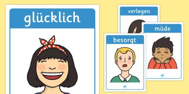 Emotions and Expressions Posters German - feelings, emotions, facial, sad, happy, vocabulary, PSHE, German, Deutsche, Germany, ourselves,