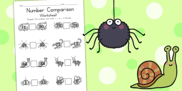 Minibeasts Cute Number Comparison Worksheets - maths, numbers