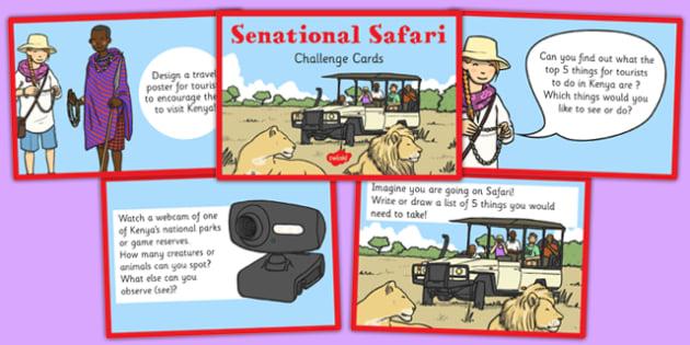 Sensational Safari Challenge Cards - safari, cards, challenge, sensational, challenge, safari, Africa, geography, location, continent
