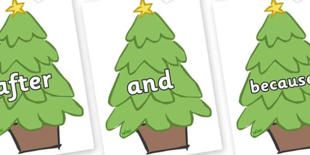 Connectives on Christmas Trees (Plain) - Connectives, VCOP, connective resources, connectives display words, connective displays